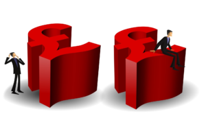 Two Red £ Pound signs with one man sitting on top of one and one man standing next to the other