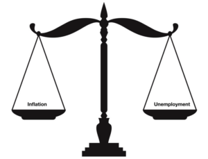 Scales balancing inflation on one side and unemployment on the other