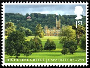 First Class Stamp showing a view of Highclere Castle