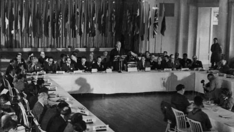 The U.S. Secretary of the Treasury, Henry Morgenthau, Jr., addresses the delegates to the Bretton Woods Monetary Conference, July 8, 1944