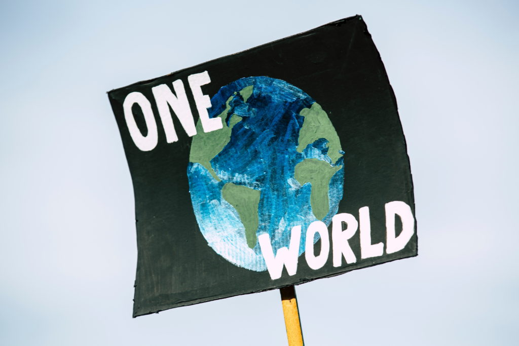 "Protest placard with a picture of the Earth in space and the slogan ""One World"""