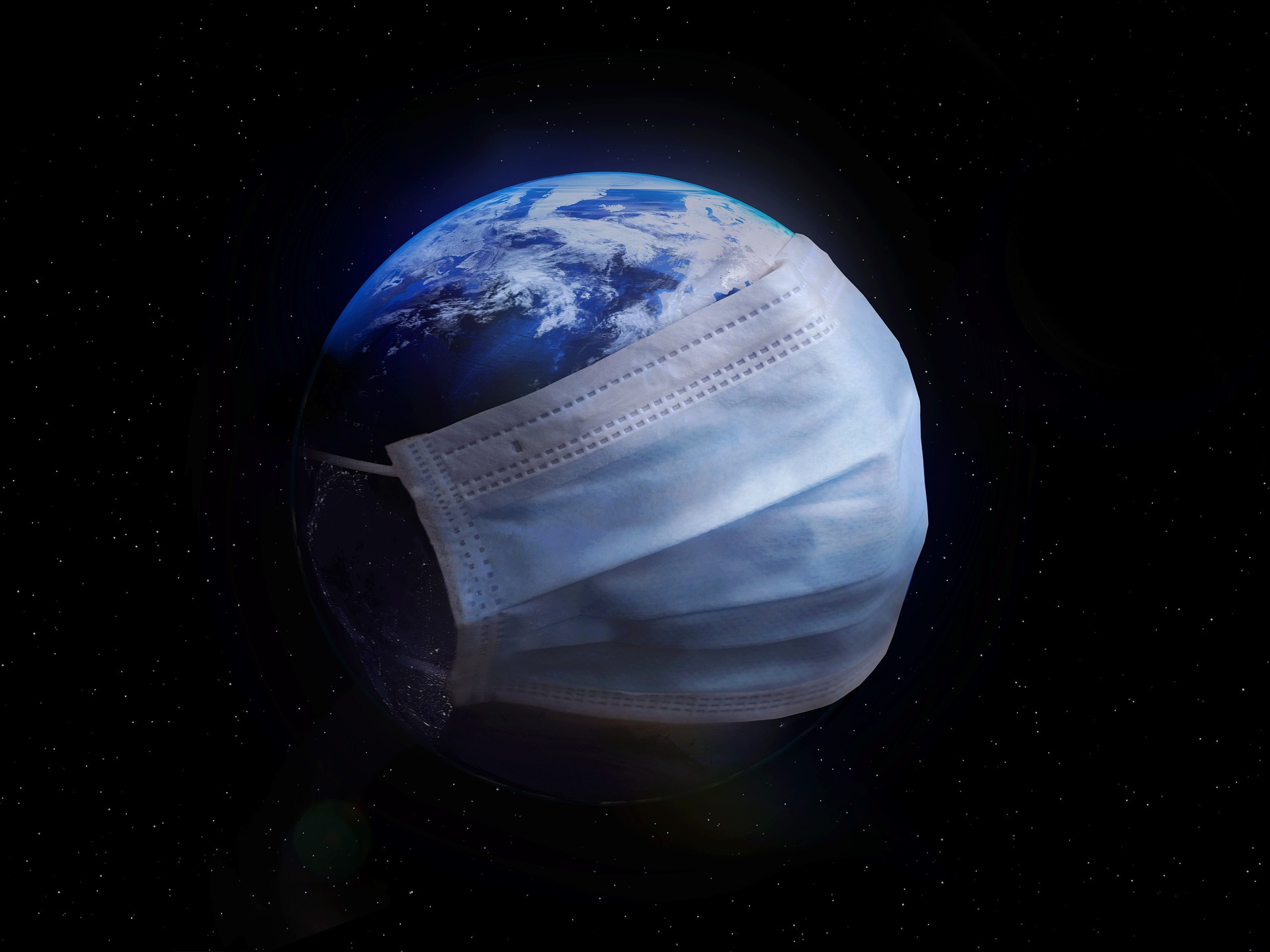 Planet Earch wearing a surgical mask