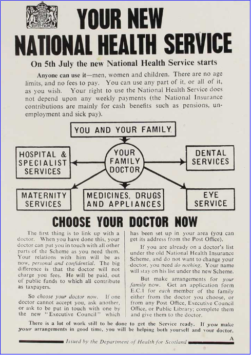 Government leaflet sent out in 1948 explaining the National Health Service