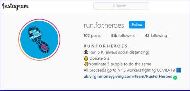 Run for Heroes Instagram account