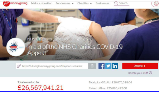 NHS Charities Together Virgin Giving page