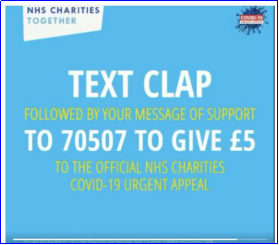 Text Clap NHS Charities Together advertisement