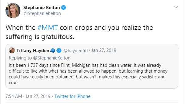 """""""Stephanie Kelton @StephanieKelton When the #MMT coin drops and you realize the suffering is gratuitous."""" with quoted tweet from Tiffany Hayden """"It's been 1,737 days since Flint, Michigan has had clean water. It was already difficult to live with what has been allowed to happen, but learning that money could have easily been obtained, but wasn't, makes this especially sadistic and cruel."""""""