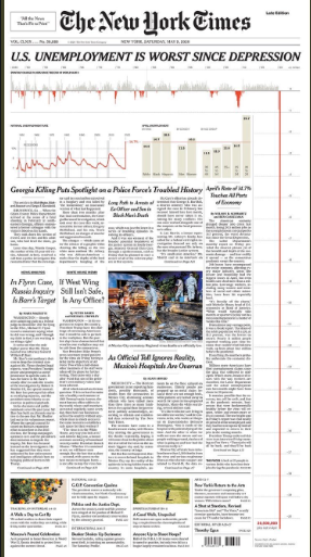 New York Times front page showing graph of employment data